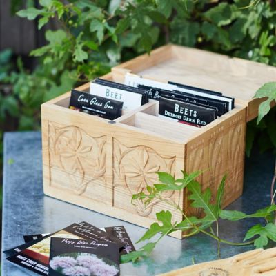 Hand Carved Seed Storage Box