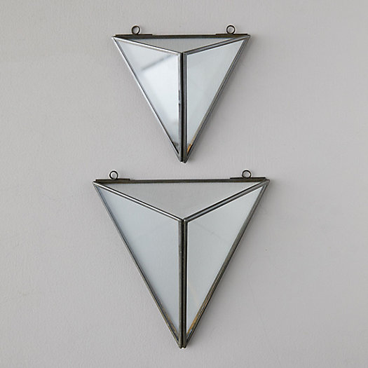View larger image of Brass + Glass Triangle Wall Planter