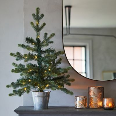 Faux Pre-lit LED Potted Geneva Tabletop Tree