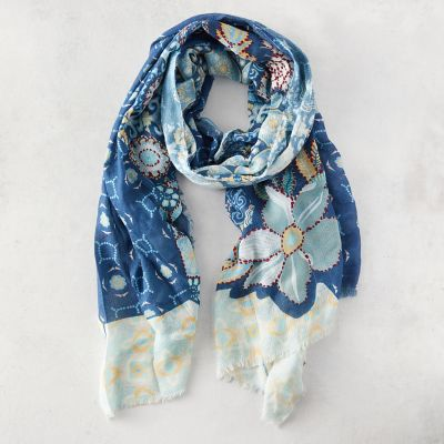 Embroidered Cotton Scarf, Navy Sky