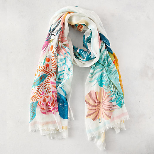 View larger image of Tropical Flower Linen Blend Scarf