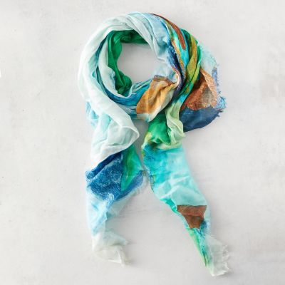 Dancing Sea Glass Linen Blend Scarf