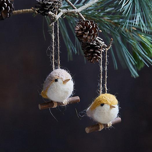 View larger image of Felt Woodland Bird Ornaments, Set of 2