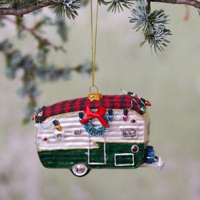 Camper Van Glass Ornament