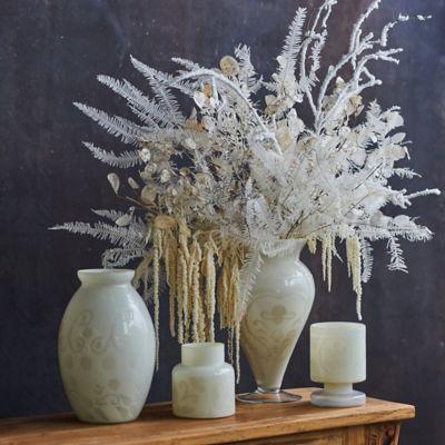 Etched Milky Glass Vase