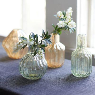 Fluted Mercury Glass Bud Vases, Set of 2