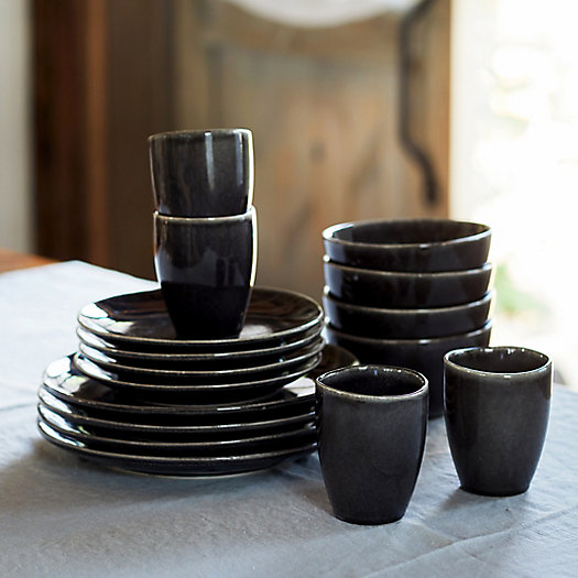View larger image of Black Ceramic Dinnerware Set for Four, 16 Pieces