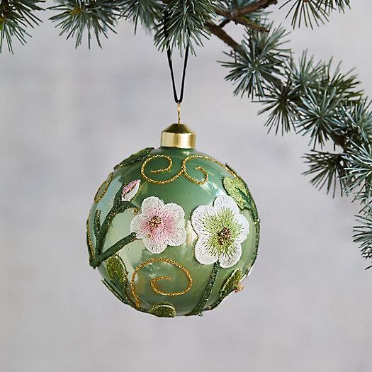 View larger image of Floral Applique Globe Ornament