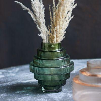 Geo Ridge Glass Vase