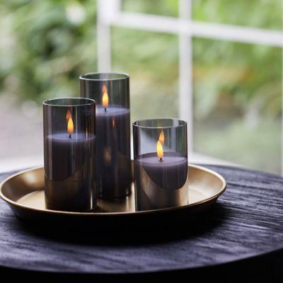 Flameless Candle in Glass Hurricane, Smoke