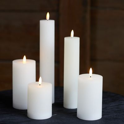 Flameless Flame Effect Candle, White Small Collection