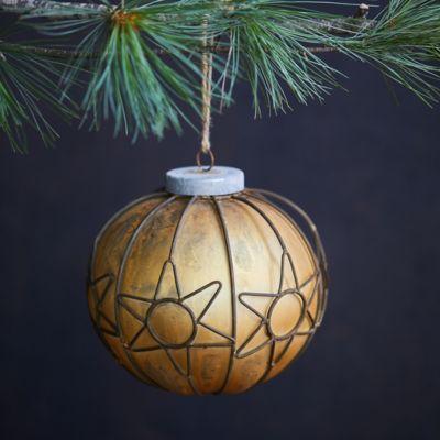 Wire Stars Glass Globe Ornament