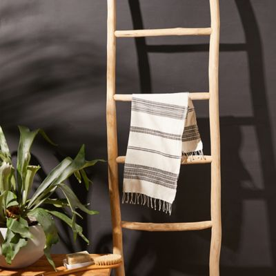 Fringed Cotton Hand Towel, Gray Stripe