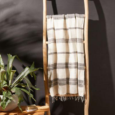 Fringed Cotton Bath Towel, Gray Stripe
