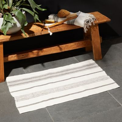 Cotton Bath Mat, Gray Stripe