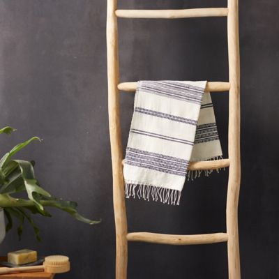 Fringed Cotton Hand Towel, Thin Blue Stripe