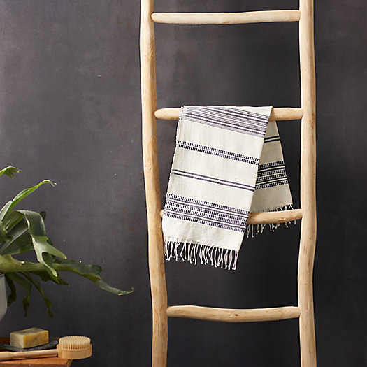 View larger image of Fringed Cotton Hand Towel, Thin Blue Stripe