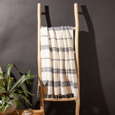Fringed Cotton Bath Towel, Blue Stripe