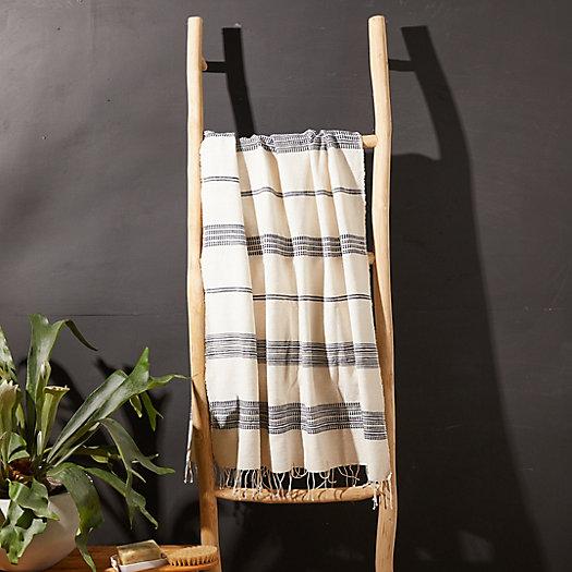 View larger image of Fringed Cotton Bath Towel, Blue Stripe