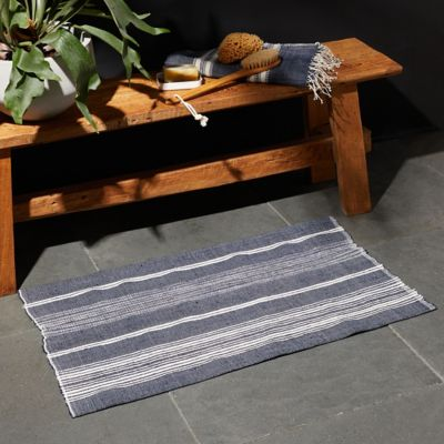 Cotton Bath Mat, Blue Stripe