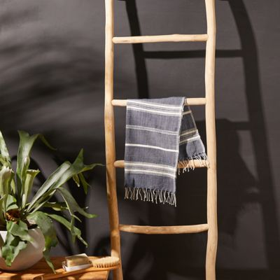 Fringed Cotton Hand Towel, Blue Stripe