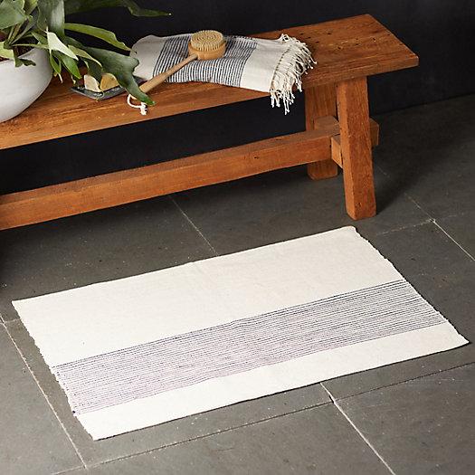 View larger image of Cotton Bath Mat, Cream Stripe
