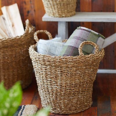 Woven Seagrass Storage Baskets, Set of 3