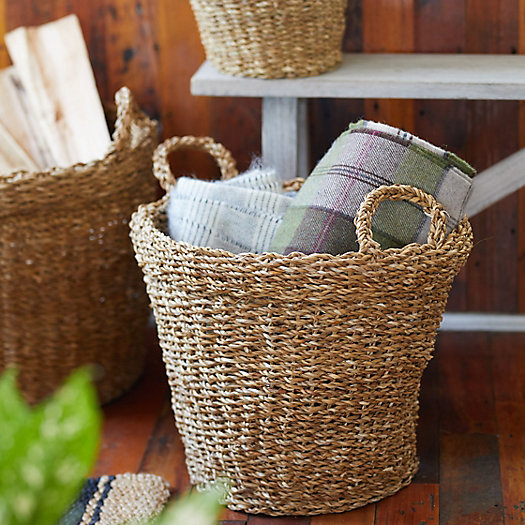 View larger image of Woven Seagrass Storage Baskets, Set of 3