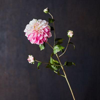 Faux Dahlia Spray, Pink + White