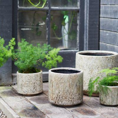 Textured Cylinder Ceramic Pot
