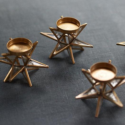View larger image of Brass Starburst Tealight Holders, Set of 12