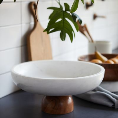 Marble + Wood Footed Serving Bowl, Extra Large