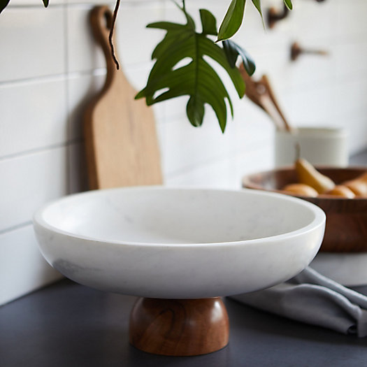 View larger image of Marble + Wood Footed Serving Bowl, Extra Large