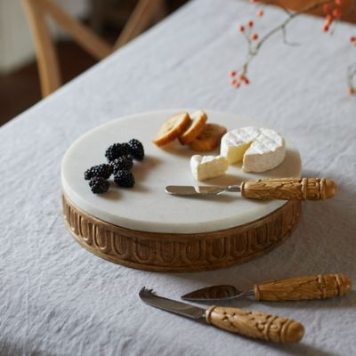 Carved Wood + Marble Serving Board
