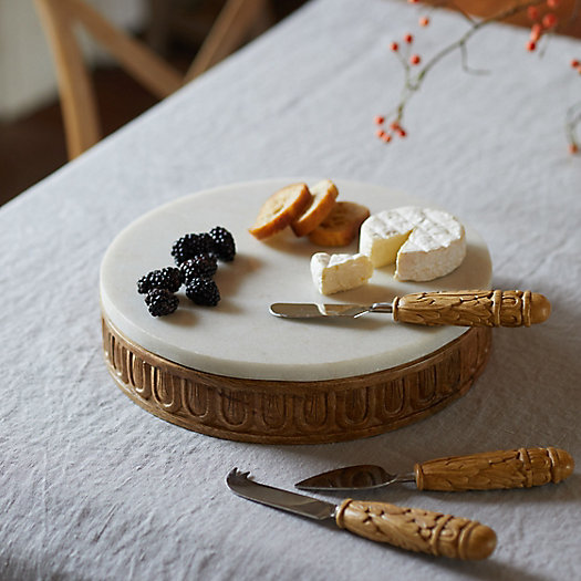 View larger image of Carved Wood + Marble Serving Board