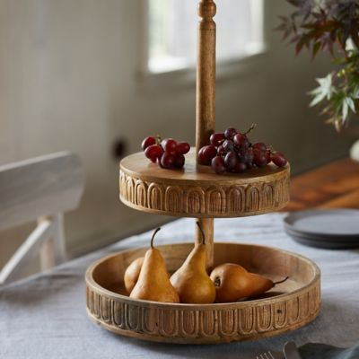Carved Wood 2-Tier Stand