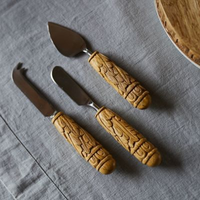 Carved Wood Cheese Knives, Set of 3