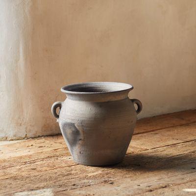 Fired Black Terracotta Planter, Amphora