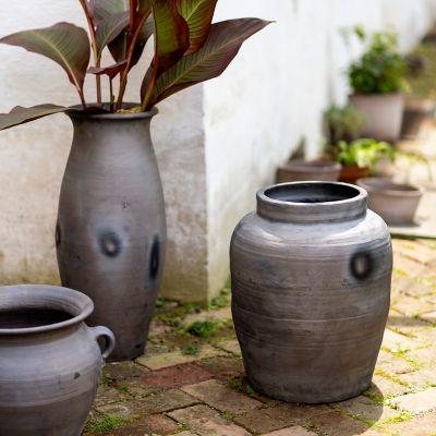 Fired Black Terracotta Planter, Canister
