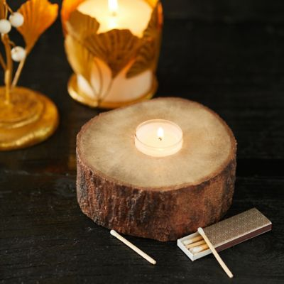 Resin Birch Log Tealight Holder