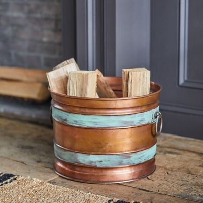 Banded Copper Log Holder