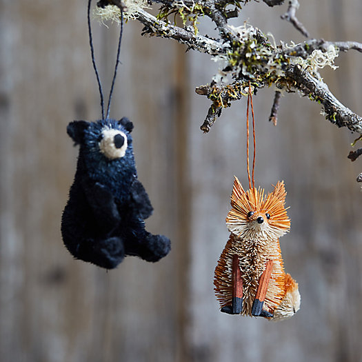 View larger image of Forest Friends Brush Ornaments, Set of 2