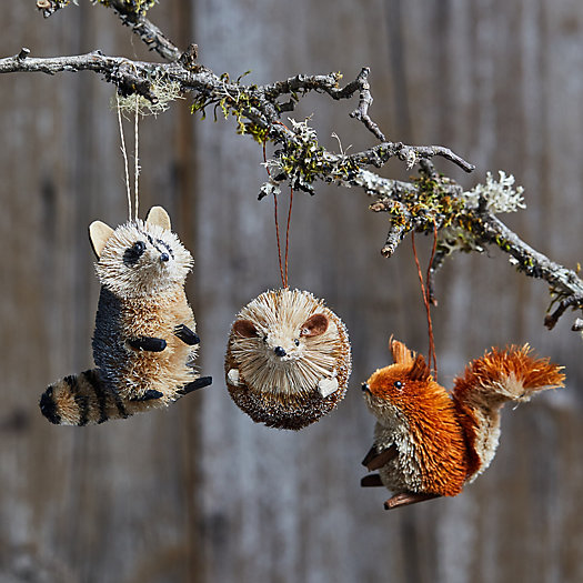 View larger image of Forest Friends Brush Ornaments, Set of 3