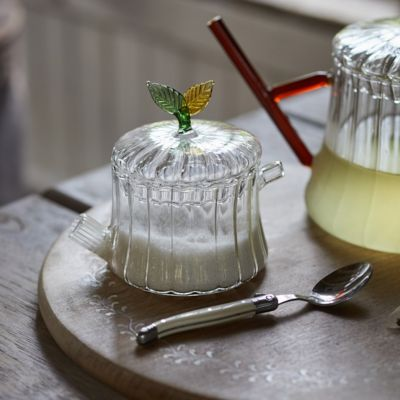 Leaf Topped Glass Sugar Pot