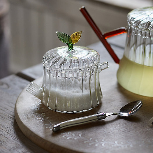 View larger image of Leaf Topped Glass Sugar Pot