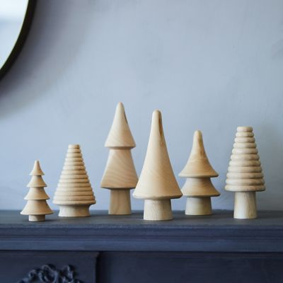 Miniature Wooden Trees, Set of 6