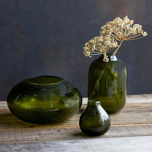 View larger image of Bubbled Green Glass Vase