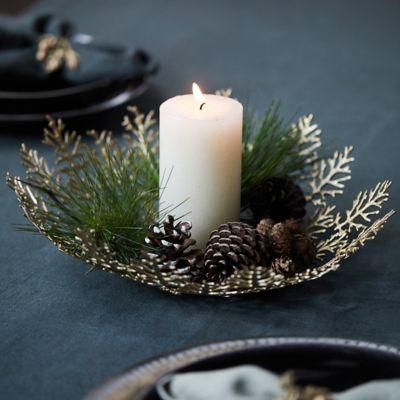 Fir Leaf Brass Decorative Bowl