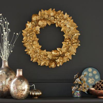 Gilded Iron Leaf Wreath