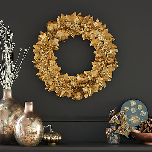 View larger image of Gilded Flowers + Leaves Iron Wreath